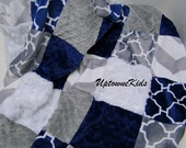 Minky Blanket Patchwork Quilt Navy and Gray with Chevron and tile pattern Bedding