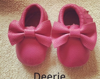 Baby Bows Moccs, Bows Moccasins, Moccs, Hot Pink Bows Moccs, Baby Moccs-Genuine Leather