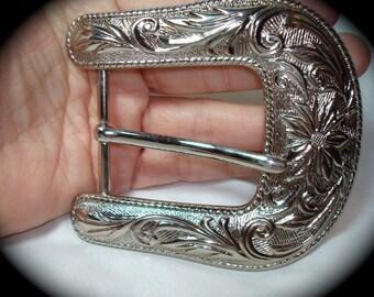 Vintage Silver Tone Western Cowboy Cowgirl Belt Buckle.