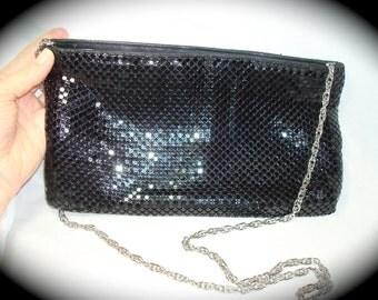 Vintage Whiting and Davis International Black Mesh  Shoulder Bag .