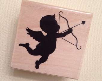 Cupid Wood Mounted Rubber Stamp  // Brand New
