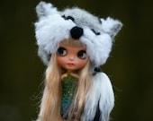 Blythe Fox Hat OOAK Blythe Felted Hat Fur Fantasy Hat for Blythe Outfit Blythe Fox Tail Hat Animal Blythe hat