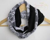Black with white lace infinity scarf, Lace infinity scarf, Black infinity scarf, jersey and lace infinity