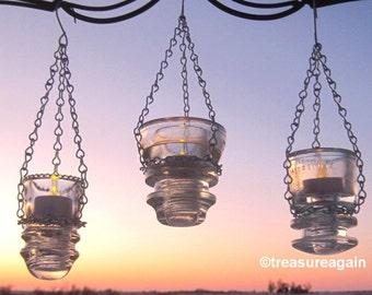 Antique Insulator Lanterns Tea Light Holders, Recycled Garden Decor Insulator Lighting