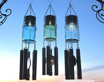 Mason Jar Windchime Color Choice of Solar Jar, Upcycled Outdoor Wind Chime Recycled Garden Decor, Mason Jar Solar Light