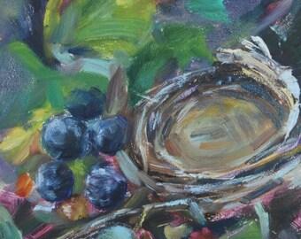 Bird Nest, Berries, Blackberries, Raspberries, Nest in Tree, Nature, Wall Decor, Berries, Fruit, Summer art,Original oil by Carol DeMumbrum