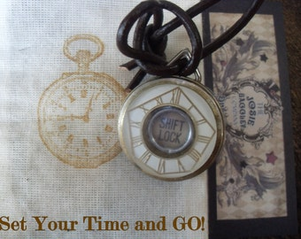 Time Button-Steampunk Pendant by Rainey J Dillon