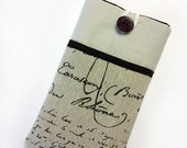 iPhone 5 iphone 4s iPad mini iPad Samsung Galaxy Note s4 iPhone 6 + Natural Cotton French Calligraphy iPhone Sleeve