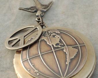 Locket Necklace - Vintage Necklace  - World Necklace - Peace Necklace - Brass Necklace - handmade jewelry