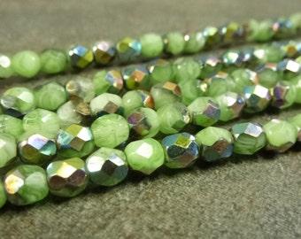 Green/White Marea Czech Glass Firepolish Beads 5mm Faceted Glass 25pc