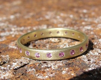 Sapphire Ring , Gold Ring , Gold Wedding Band , Eternity Ring , Anniversary Ring , Gold and Pink Sapphire Wedding Ring