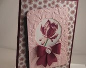 Stampinup Handmade Stamped Card Pink Purple Flower 3D Bow