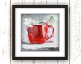 Red Cup of Flower - Painting Print