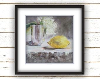 Lemon with Peony - Painting Print