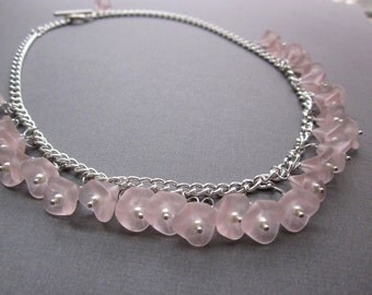 pink and pearl flowers - the orianne necklace