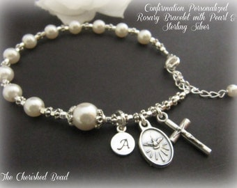 Personalized Confirmation Pearl & Sterling Rosary Bracelet with Monogram Initial charm