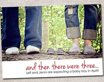 Pregnancy announcement: Printable (And then there were... photo pregnancy announcement card)