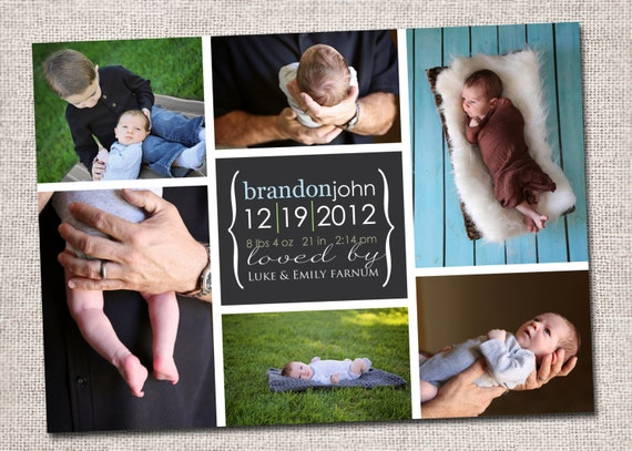 Birth announcement, baby boy announcement, baby girl announcement, baby announcement, modern birth announcement, printable (6 photo collage)