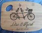 Personalized laser engraved bamboo cutting board wedding gift handmade engagement Birds on Bike