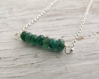 Birthstone Necklace, Emerald Bar Necklace, Layering Necklace, May birthday, Sterling Silver, Bridesmaid Gift
