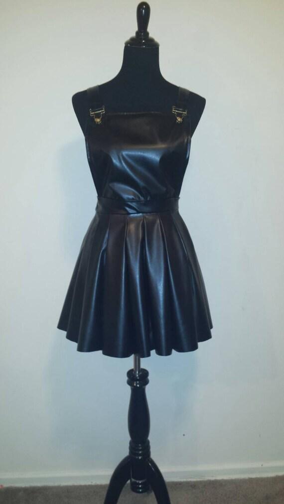leather scuba skirt overalls