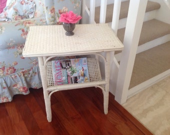 Vintage SHABBY CHIC WICKER Side Table Chippy Table Cottage Style On Sale at Retro Daisy Girl