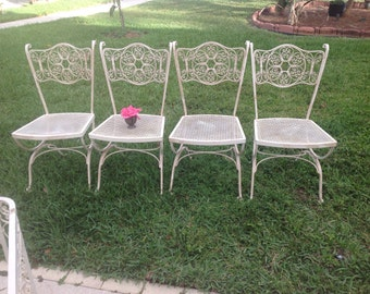 2 SHABBY CHIC WOODARD Wrought Iron Chairs Vintage Andalusian Shabby Chic Style Set of 2 Chairs On Sale at Retro Daisy Girl