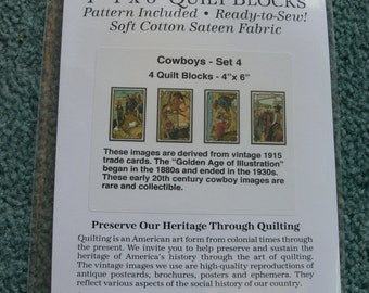 Olde America Antiques - Nine-Patch Quilt Pattern - Wall Hanging- Cowboys set of 4
