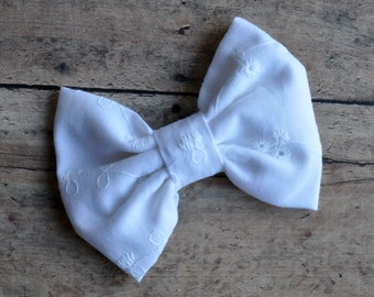 White Eyelet Fabric Bow 3.5 Inches