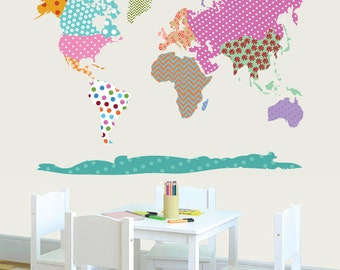Vinyl Wall Decal  World Map Wall Decal - Patterned World Map - Map Vinyl Decals - Modern Map - Vinyl Decals