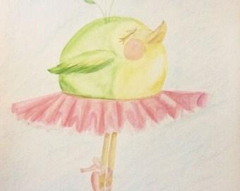 Bird Art, Bird Painting, Saute Dancing Bird In Tutu, Whimsical water color print, nursery decor, Childrens Art matte finish, Dance Art