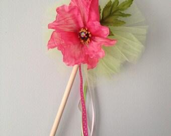 Pink Poppy Flower Fairy Wand