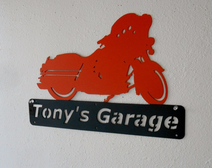 Harley / Man Cave / Personalized Name Sign / Motorcycle / Garage Sign / Custom Colors / Metal Sign / Wall Decor / Metal Art / Wall decor