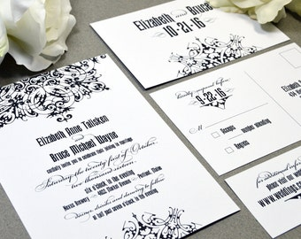 Gothic Wedding Invitations Black and White Invite Set Medieval Pocket Folder Suite Bellyband RSVP Postcard Calligraphy Wedding Invitation