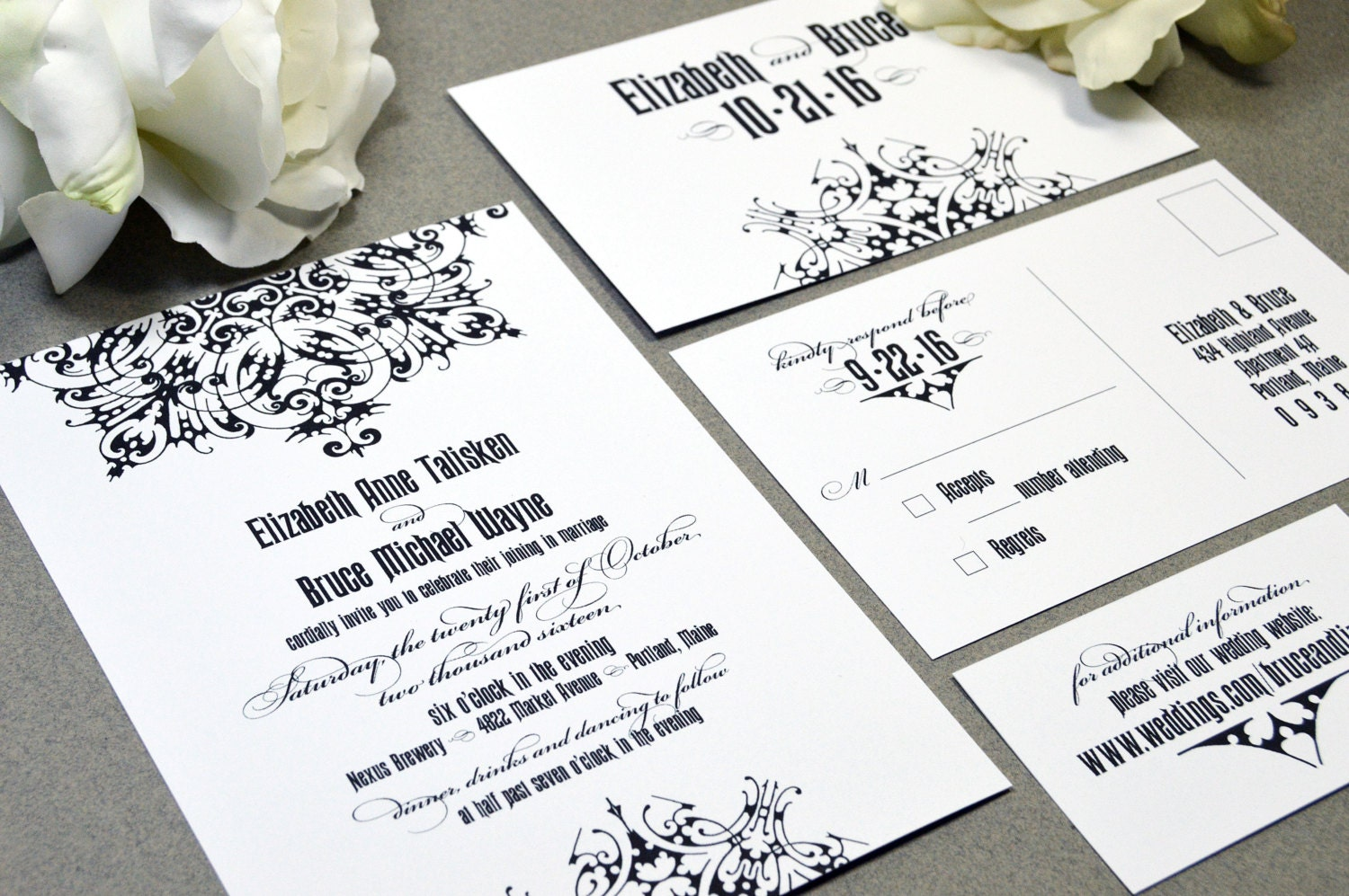 Medieval Wedding Invitation Wording: Gothic Wedding Invitations Black And White Invite Set Medieval