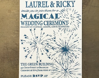 Letterpress Wedding Invitations - Fireworks