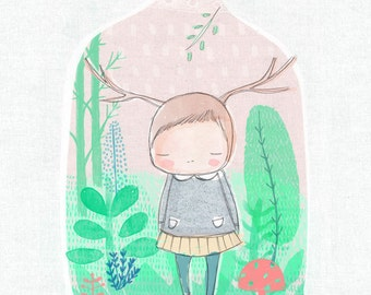 """8 x 10""""  or A4 Terrarium art print with little deer girl inside. Inspirational quote - Imagine the impossible"""