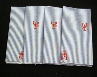 Eco Friendly Cloth Napkins Red Lobsters Set of 4