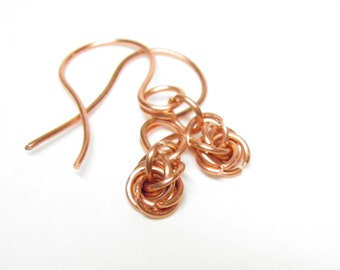 Copper Chain Mail Earrings, Copper Chain Mail Jewelry, Wedding Knot, Infinity Circle, Love Knot, Chain Maille Earrings, Chain Maille Jewelry