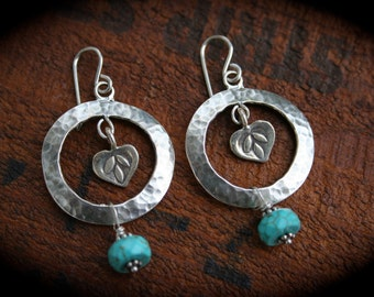 Sterling Silver and Turquoise Lotus Earrings