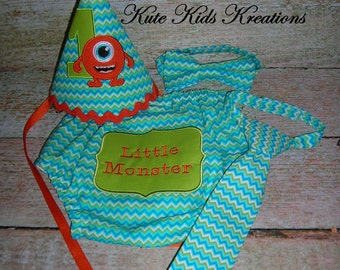 Baby Boy's Diaper Cover, Necktie or BowTie, and Hat Set/Monsters/Cake Smash/Photo Prop