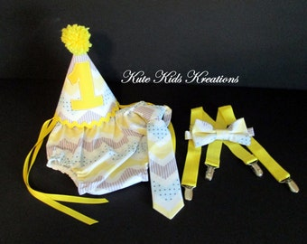 Baby Boy's First Birthday Cake Smash Set, Yellow/Blue Chevron, Photo Prop
