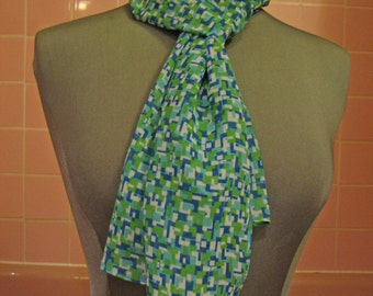 SALE - large blue/green sheer print scarf - 60s inspired
