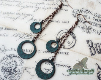 Bohemian Gypsy Rustic Verdigris Hoop Earrings ~ with Aged Copper Patina, chain