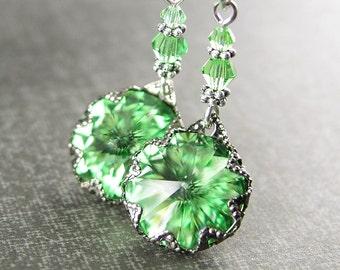 Swarovski Crystal Peridot Earrings Sterling Silver Hook August Birthstone Earrings Peridot Green Crystal Drop Dangle Earrings