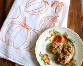 Tea Towel - Screen Printed Flour Sack Towel - Absorbent Kitchen Towel - Handmade - Pumpkin - squash - Dish Towel - Soft Eco Friendly Cotton