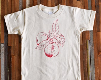 Kids Tshirt - Organic Cotton Toddler Shirt - American Apparel Kids Shirt - Screenprint Tshirt - Apple Toddler Tee - Hipster Kids Clothes