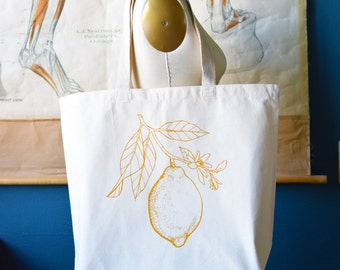 Recycled Cotton Canvas Tote Bag - Screen Printed Grocery Bag - Eco Friendly Shopper Tote - Large Tote - Farmers Market - Lemon - Citrus
