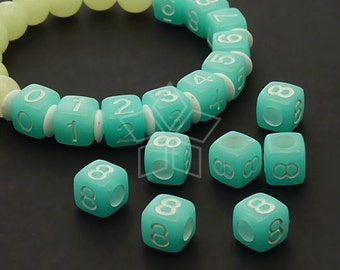LR-061-BL / 10 Pcs - Numeric Luminous Beads, Phone Number Bead, Anniversary Date, Number Eight, 8, BLUE Square / 7mm