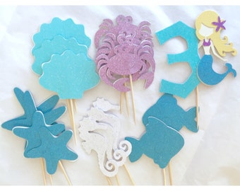 Mermaid Under the Sea Cupcake Toppers - set of 13, special birthday girl topper